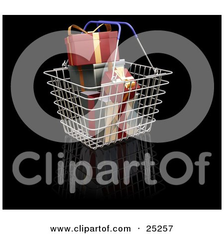 Clipart Illustration of a Metal Shopping Basket With Blue Handles, Full Of Wrapped Red And Green Christmas Gifts by KJ Pargeter