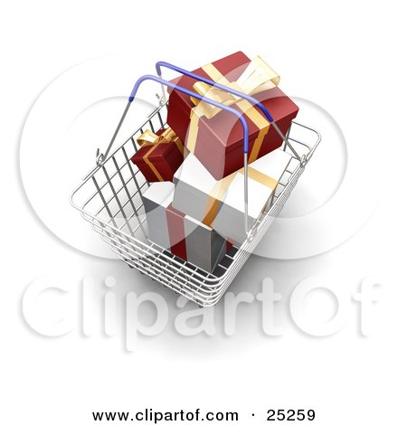Clipart Illustration of a Metal Shopping Basket With Blue Handles, Full Of Wrapped Red And White Christmas Gifts by KJ Pargeter