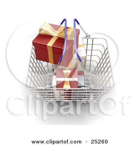 Clipart Illustration of a Metal Shopping Basket With Blue Handles, Full Of Wrapped White And Red Christmas Gifts With Gold Bows And Ribbons by KJ Pargeter