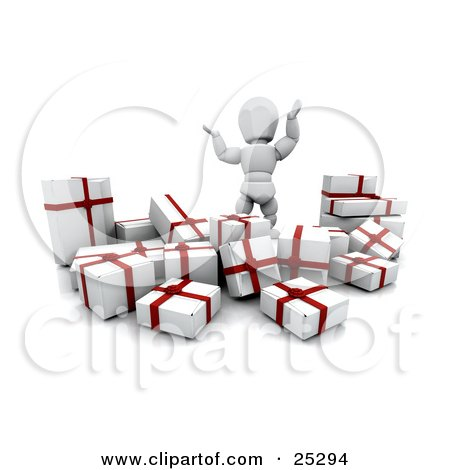 Clipart Illustration of an Overwhelmed White Character Waving His Arms In The Air And Standing Behind A Bunch Of Wrapped White And Red Christmas Presents by KJ Pargeter