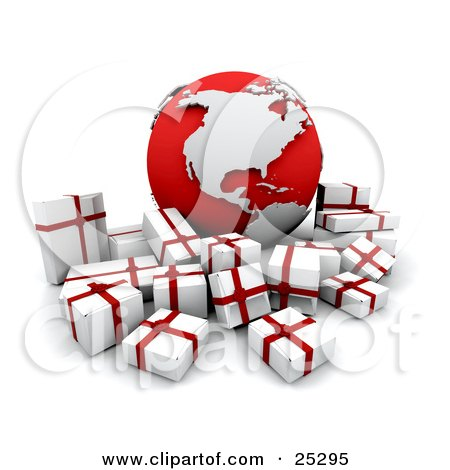 Clipart Illustration of a Crowd Of White And Red Christmas Presents Surrounding A Red And Silver Globe With The American Continents by KJ Pargeter