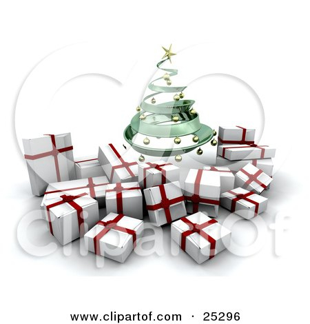Clipart Illustration of a Green Spiraled Christmas Tree With Golden Ornaments, Over White And Red Christmas Gifts by KJ Pargeter