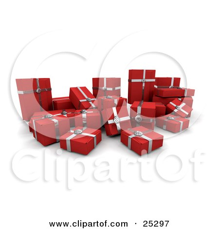 Clipart Illustration of a Crowd Of Christmas Presents Wrapped In Red Paper And Silver Bows And Ribbons by KJ Pargeter