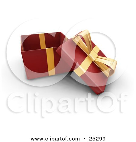 Clipart Illustration of an Opened Christmas Gift Wrapped In Red Paper With A Gold Ribbon And Bow by KJ Pargeter