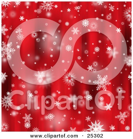 Clipart Illustration of Various Snowflakes Falling Over A Beautiful Red Background by KJ Pargeter