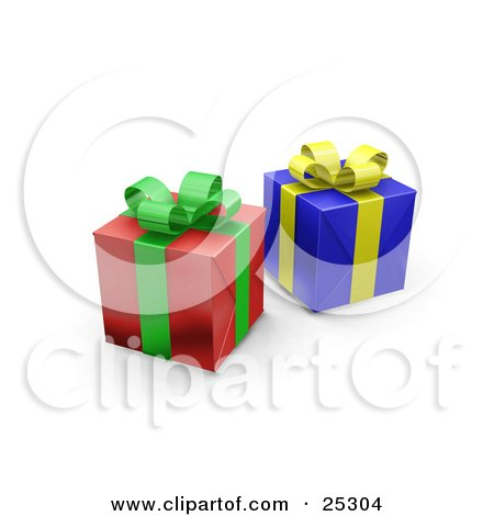 Clipart Illustration of Two Unopened Christmas Gifts Wrapped In Red And Blue Paper With A Green And Yellow Ribbons And Bows by KJ Pargeter