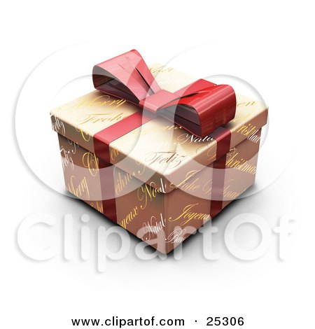 Clipart Illustration of an Unopened Christmas Gift Wrapped In Gold Christmas Greeting Paper With A Red Ribbon And Bow by KJ Pargeter