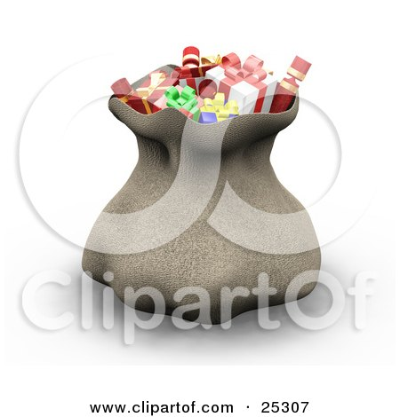 Clipart Illustration of Santa's Brown Sack Full Of Wrapped Christmas Presents, Cinched At The Top by KJ Pargeter