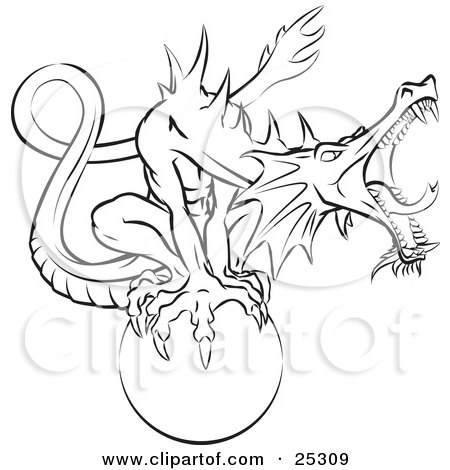 Clipart Illustration Of A Roaring Dragon Guarding A Magical Orb