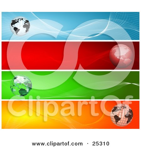 Clipart Illustration of Four Web Design Banners Of Globes With Blue, Red, Green And Orange Backgrounds by KJ Pargeter