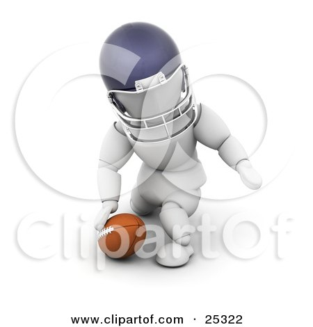 Clipart Illustration Of A White Character In A Helmet Kneeling By A Football