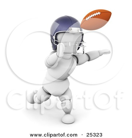 Clipart Illustration Of A White Character In A Helmet Running To Catch A Football During A Game