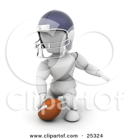 Clipart Illustration Of A Kneeling White Character In A Helmet Touching A Football
