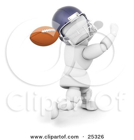 Clipart Illustration Of A Running White Character In A Helmet Holding His Arms Up And Looking Back To Catch A Football