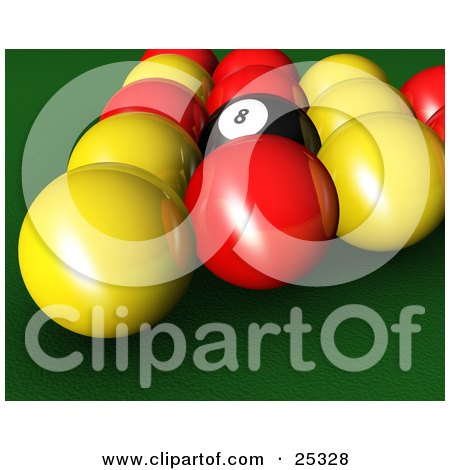 Clipart Illustration of a Closeup Of A Black Eight Ball In The Center Of Red And Yellow Racked English Billiards Pool Balls On The Green Of A Table by KJ Pargeter