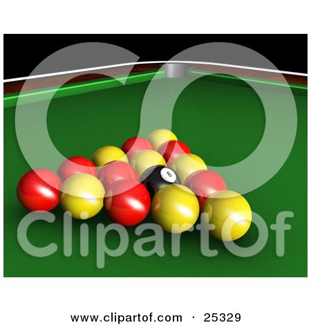 Clipart Illustration of Red, Yellow And Black Racked English Billiards Pool Balls On The Green Of A Table by KJ Pargeter