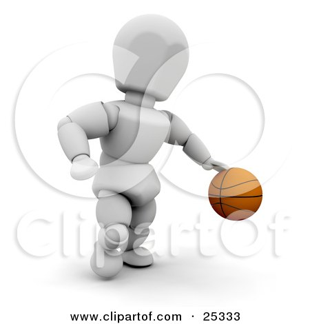 Clipart Illustration of a White Character Running And Dribbling A Basketball On The Court by KJ Pargeter