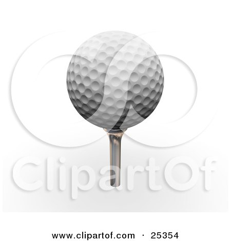 Clipart Illustration of a Dimpled White Golf Ball On Top Of A Silver Tee by KJ Pargeter