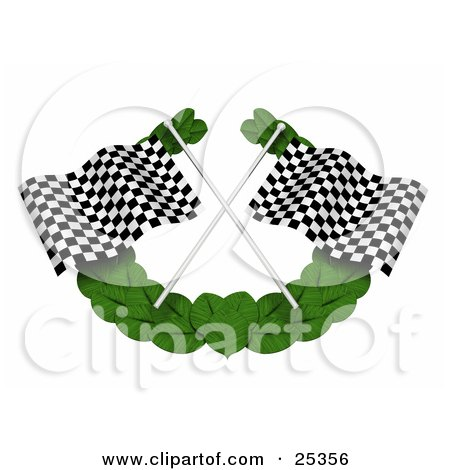 Clipart Illustration of Two Black And White Checkered Racing Flags Crossed Over A Green Leaf Garland by KJ Pargeter