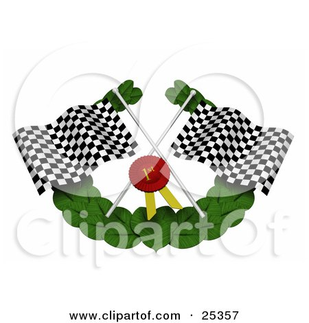Clipart Illustration of Black And White Checkered Racing Flags, A Red First Place Ribbon And Green Leaf Garland by KJ Pargeter