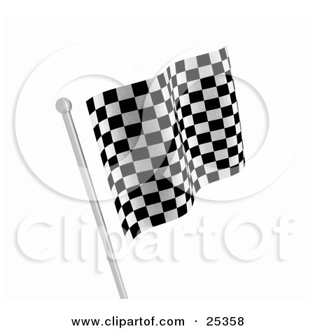 Clipart Illustration of One Checkered Racing Flag In Black And White, Waving In The Breeze On A Silver Pole by KJ Pargeter