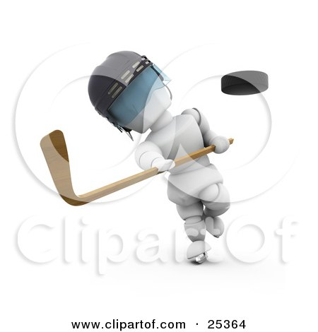 Clipart Illustration of a White Character Wearing A Helmet Whacking A Flying Puck With A Hockey Stick by KJ Pargeter