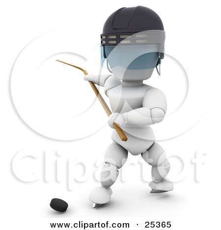 Clipart Illustration of a White Character Wearing A Helmet And Holding Back A Hockey Stick, Preparing To Hit A Puck by KJ Pargeter