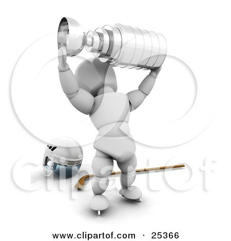 Clipart Illustration of a Victorious White Character Holding Up A Silver Trophy Cup And Standing In Front Of A Hockey Stick And Helmet by KJ Pargeter