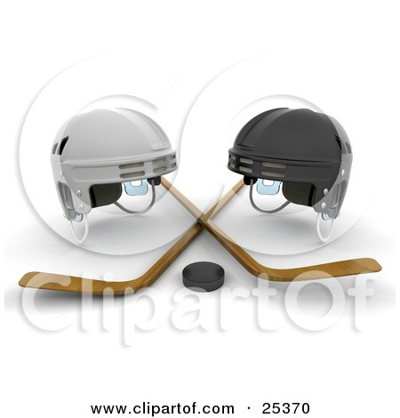 Clipart Illustration of White And Black Helmets With Two Wooden Hockey Sticks And A Puck by KJ Pargeter