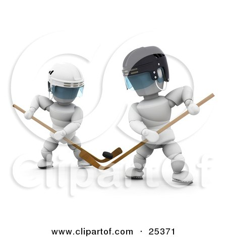 Clipart Illustration of Two White Characters, Opponents, Juggling With The Puck And Sticks During A Hockey Game by KJ Pargeter