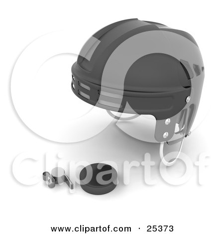 Clipart Illustration of a Hockey Referee's Black Helmet, Puck And A Silver Whistle by KJ Pargeter