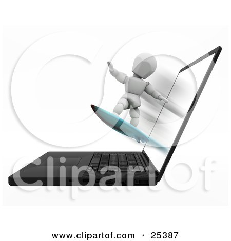 Clipart Illustration of a White Character Holding His Arms Out For Balance While Surfing On A Board, Coming Out Of A Laptop Computer by KJ Pargeter