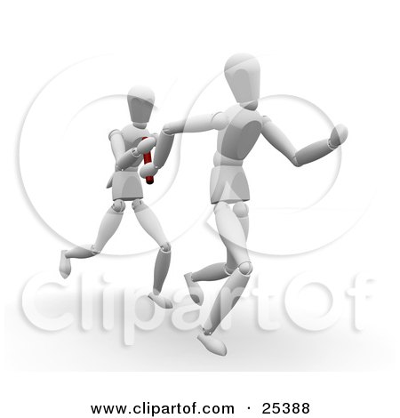 Two White Figure Characters Passing A Baton While Running In A Relay Race Posters, Art Prints