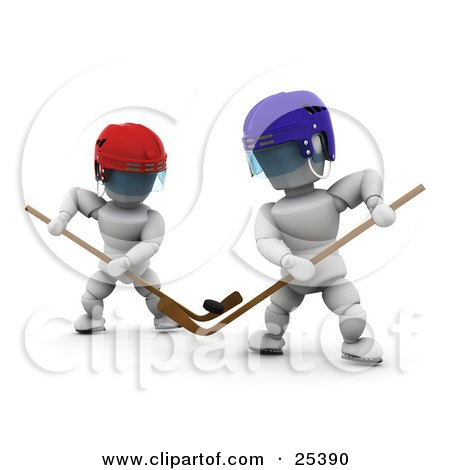 Two White Characters Competing With Hockey Sticks During A Game Posters, Art Prints