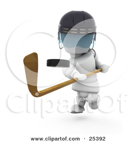 Clipart Illustration of a Hockey Puck Flying Through The Air After Being Hit By A White Character With A Stick by KJ Pargeter