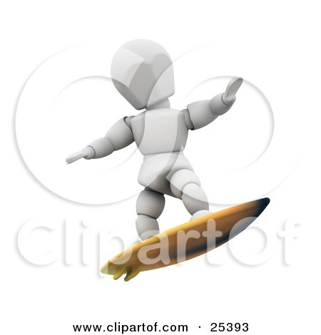 Clipart Illustration of a White Character Holding His Arms Out For Balance While Surfing On A Yellow Board by KJ Pargeter