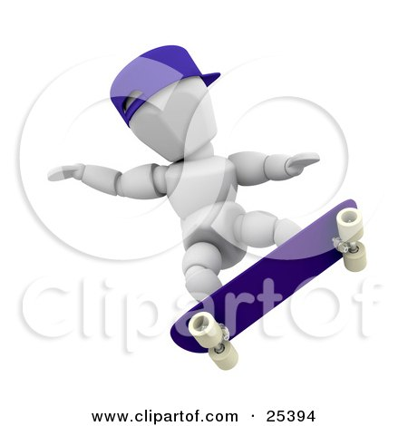 White Character With A Blue Hat, Holding His Arms Out For Balance While Skateboarding Posters, Art Prints