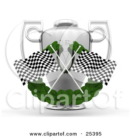 Two Checkered Racing Flags Crossed Over A Green Leaf Garland in Front Of A Silver First Place Trophy Cup Posters, Art Prints
