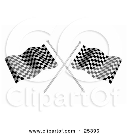 Two Waving Checkered Racing Flags On Silver Poles Posters, Art Prints