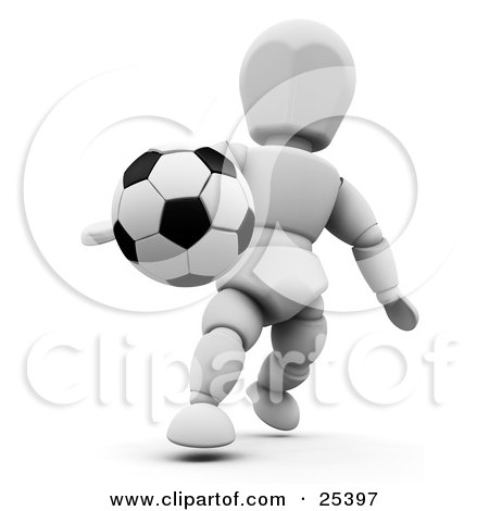 Clipart Illustration of a Black And White Soccer Ball Suspended In Mid Air Near A White Character by KJ Pargeter