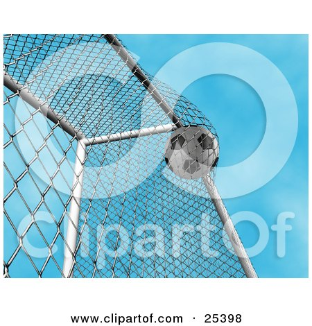 Clipart Illustration of a Soccer Ball Slamming Into The Fencing Of The Goal Post During A Game, Sky Background by KJ Pargeter