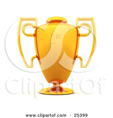Clipart Illustration of a Large Gold First Place Trophy Cup With Unique Handles by KJ Pargeter