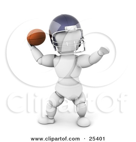 Clipart Illustration Of A White Character In A Helmet Preparing To Throw A Football During A Game