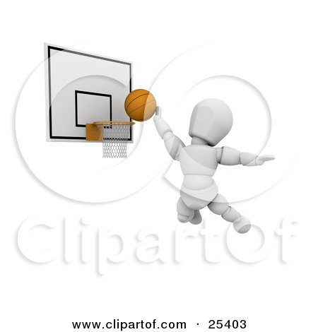 White Character Jumping To Score By Putting The Basketball Through The Hoop Posters, Art Prints