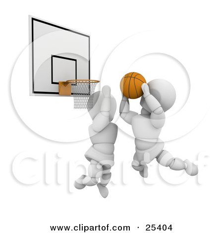 White Character Leaping To Block An Opponent From Scoring During A Basketball Game Posters, Art Prints