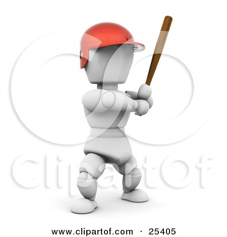 Clipart Illustration of a White Character In A Red Helmet, Standing And Holding A Baseball Bat During A Game by KJ Pargeter