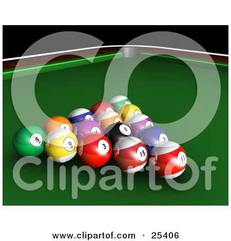 Clipart Illustration of Racked Billiards Pool Balls On The Green Of A Table by KJ Pargeter