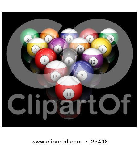 Clipart Illustration of Billiards Pool Balls Racked On A Reflective Black Surface by KJ Pargeter