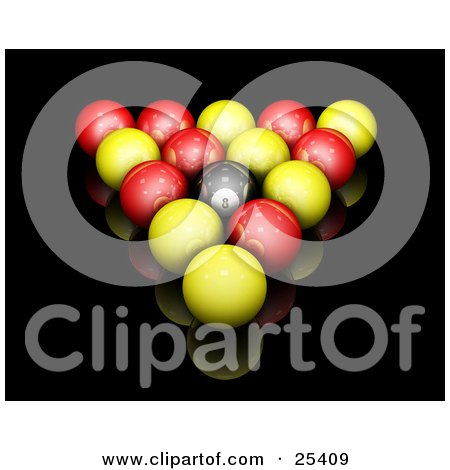 Clipart Illustration of Red, Yellow And Black Racked English Billiards Pool Balls On A Reflective Black Surface by KJ Pargeter