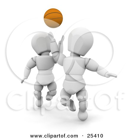 Clipart Illustration of a White Character Reaching Up To Steal The Basketball From An Opponent During A Game by KJ Pargeter